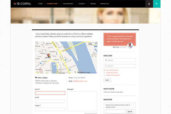Drupal theme TB Corpal Contact us page