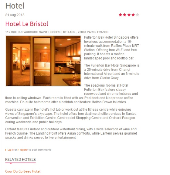 Drupal theme TB Travel Hotel Content type