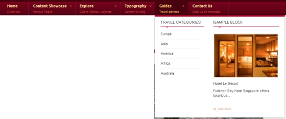 Drupal theme TB Travel Mega Menu