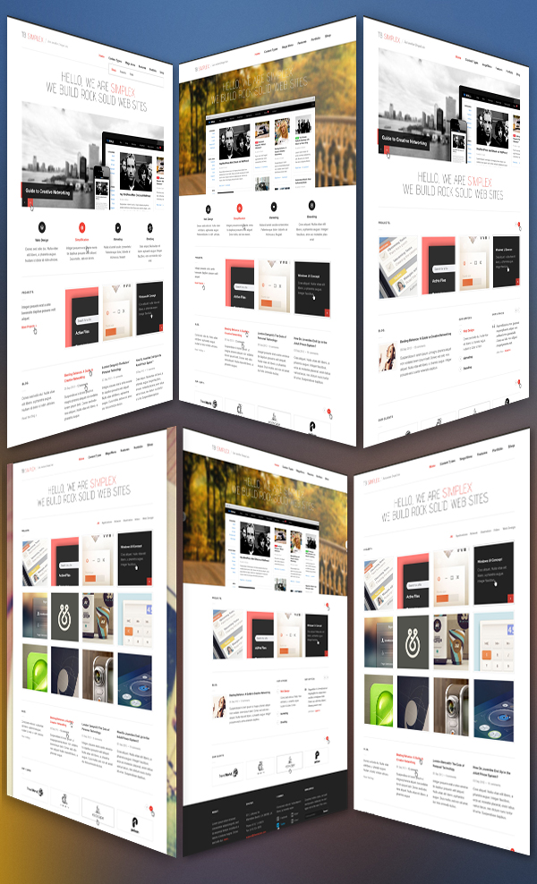 TB Simplex - 6 Homepage layouts