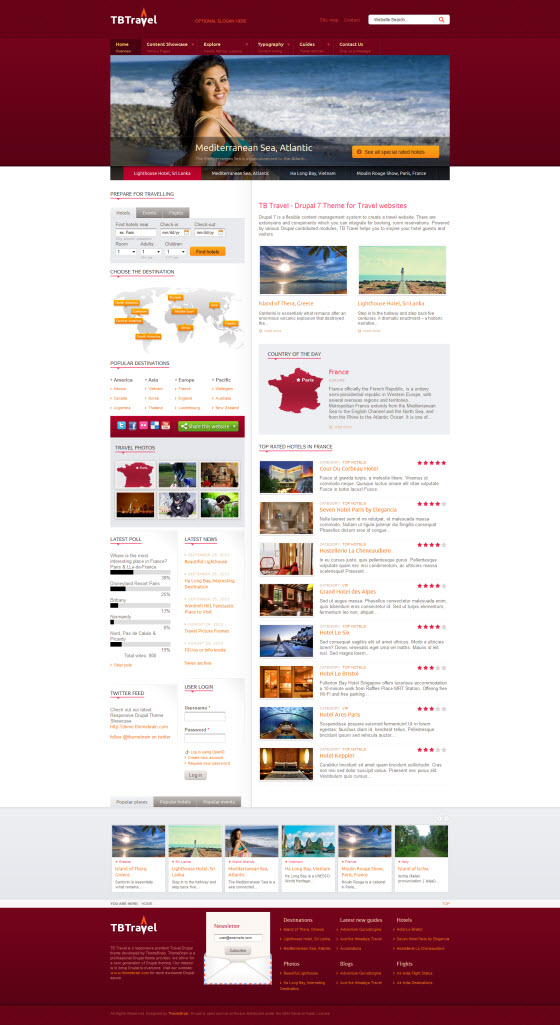 Drupal theme TB Travel Homepage Screenshot