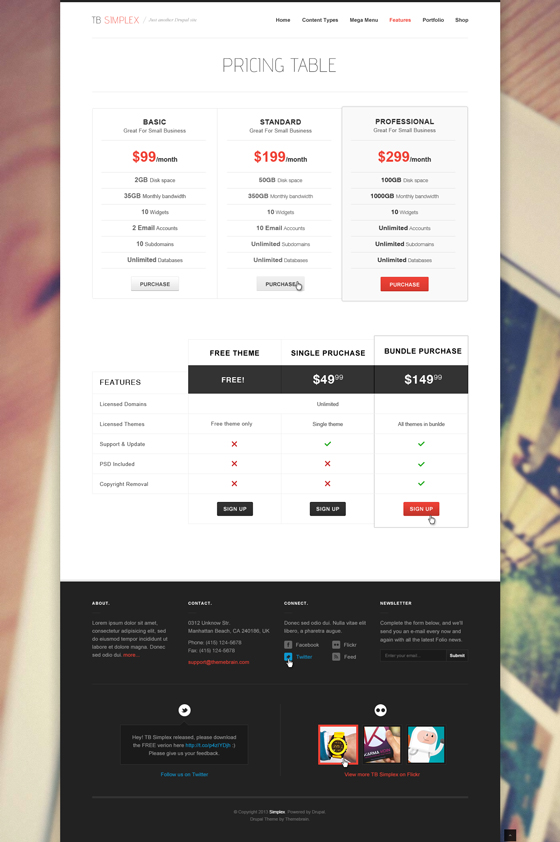 Pricing table page - TB Simplex