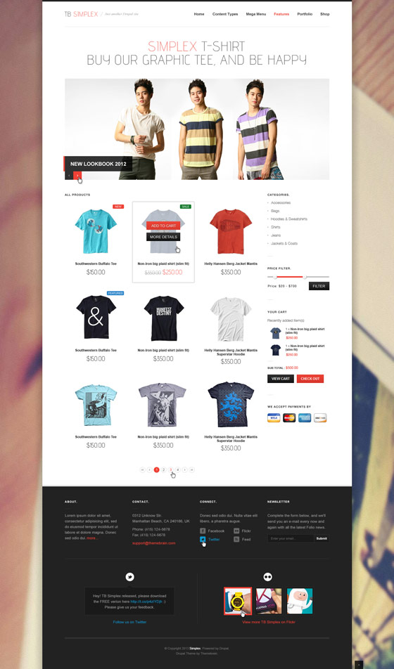 TB Simplex - eCommerce page