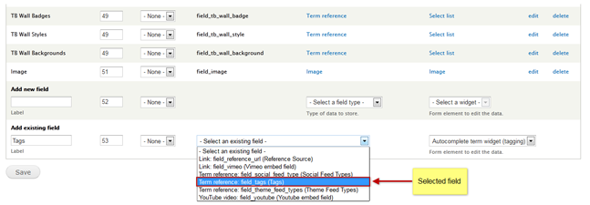 Blog tags field configure