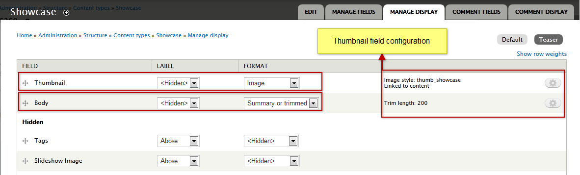 Slideshow Thumbnail field configure