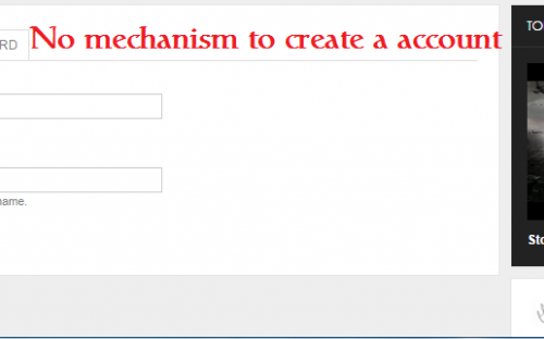No mechanism to create a news account