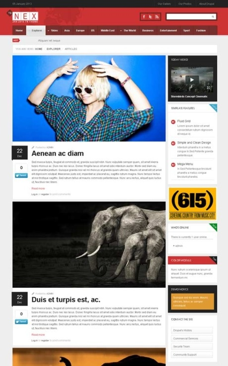 Responsive News Magazine Drupal Theme TB Nex - Article list page