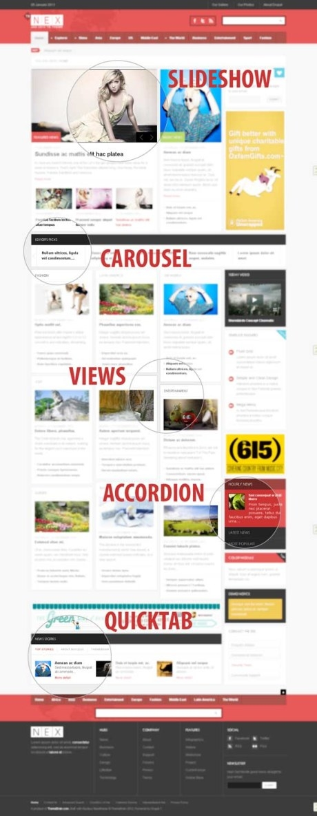 Responsive News Magazine Drupal Theme TB Nex - Features
