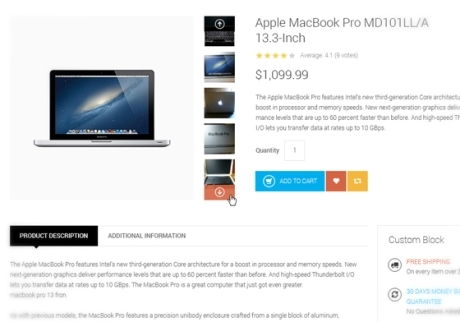 eCommerce drupal theme TB Metroz screenshot - Product detail