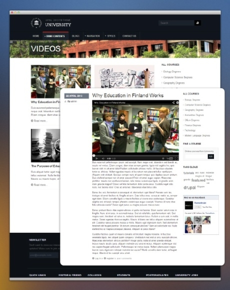 Video page - Education drupal theme TB University screenshot